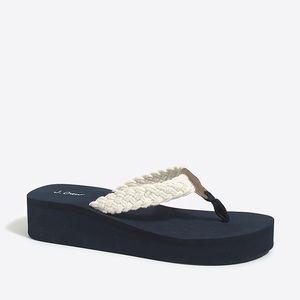 Jcrew cotton wedge heel sandals- like new